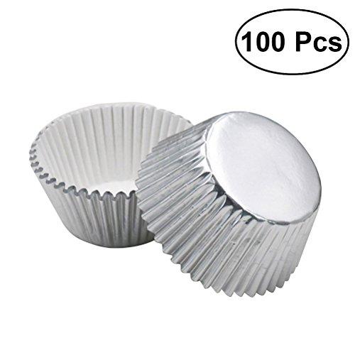 ULTNICE 100 stücke Silber Folie Cupcake Liner Aluminium Verdickt Backen Muffin Pappbecher Fällen (Silber) - Aluminium-liner
