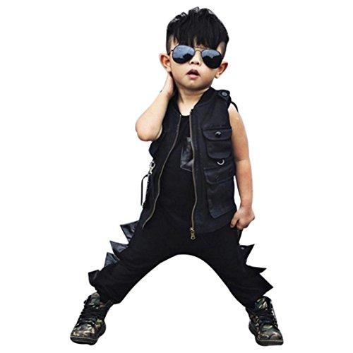 Baby Kleider Set, HARRYSTORE Kleinkind Säuglingsbaby ärmelloser Overall Persönlichkeit Entwurfs Dinosaurier Art Spielanzug Ausstattungen (24M, Schwarz) Baby Going Home Outfit