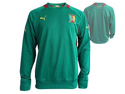 Puma Kamerun Sweatshirt Grün Fußball WM Fanartikel Cameroon Trainingtop Fussball Jersey, Gr.M