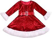 Vestido de Navidad para Bebé Niña de 6 Meses a 5 Años Vestidos Navideños de Terciopelo de Manga Larga con Cint