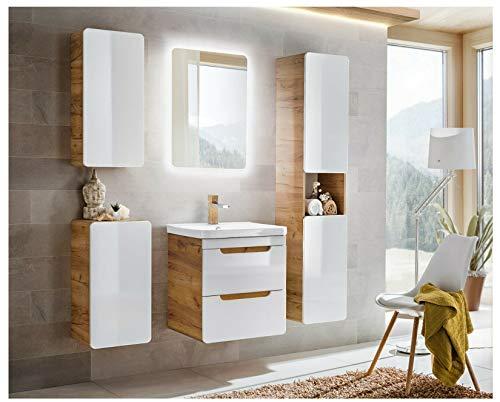 Naka24 Badmöbel Set Aruba-Weiss/Eiche 60 mit Waschbecken LED(komplettes Badmöbel Set)
