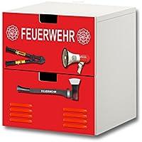 Preisvergleich für Stikkipix Feuerwehr Möbelsticker/Aufkleber - S2K20 - passend für die Kinderzimmer Kommode mit 2 Fächern/Schubladen STUVA von IKEA - Bestehend aus 2 passgenauen Möbelfolien (Möbel nicht inklusive)