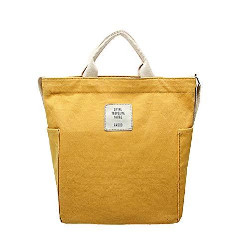 Gindoly Casual Handtasche Damen Henkeltasche Schulrucksack Damen Canvas Chic Schultertasche Große umhängetasche Tasche (Gelb) EINWEG