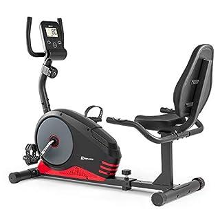 Hop-Sport Liege-Heimtrainer Root Sitzheimtrainer Heimtrainer Liegeergometer 9,5 kg Schwungmasse 8 Widerstandsstufen Benutzergewicht bis 120 kg (Rot)