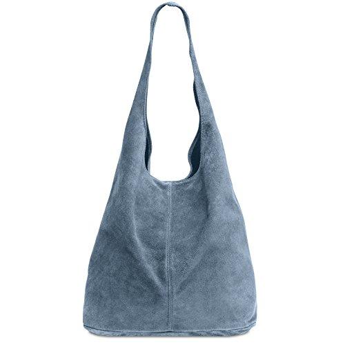 CASPAR TL767 großer Damen Leder Shopper, Größe:One Size, Farbe:jeans blau