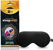 Friends of Meditation ® 100 % Mulberry Silk Eye Mask , Super Smooth Sleep Mask And Blind Fold (Black)