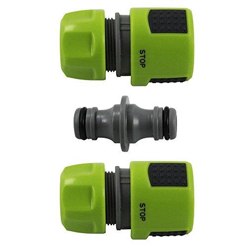 com-four® Ensemble de 3 pour systèmes de tuyaux d'arrosage, 2X arrêt d'Eau, raccord, 13 mm, 1/2\