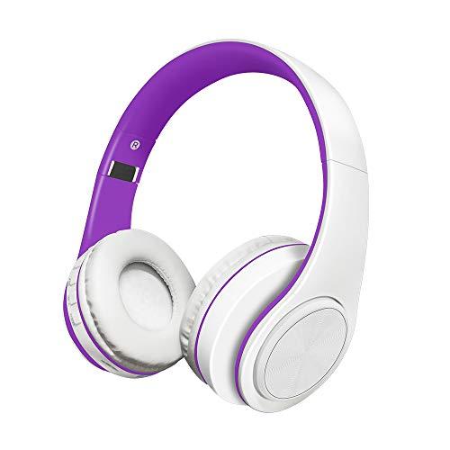 Alitoo Auriculares Inalámbricos Bluetooth Estéreo Plegable Auriculares de Diadema con micrófono Cancelación de Ruido sobre Oreja Cascos para Smartphone,PC,TV,Tableta,Android,MP3 y MP4 (Purple&White)