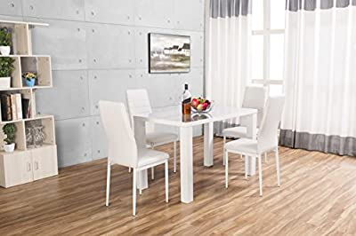 Pivero High Gloss White Dining Table Set and 4 Faux Leather Chairs Seats produced by Furnitureboxuk - quick delivery from UK.