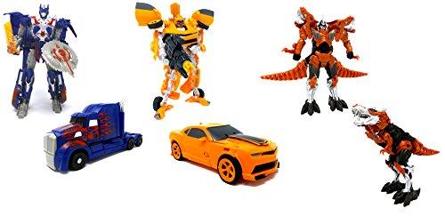 Brigamo 3er Set Transform Robot Truck, Mustang & Dinosaurier, 19 cm Actionfiguren