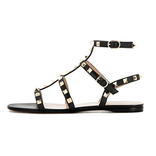 Casual Flache Ferse (EKS Damen Fllosacg Thin Straps mit Nieten Flache Ferse Casual Schuhe Schwarz 40 EU)