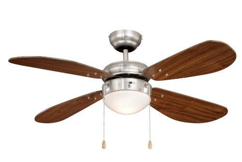 Deckenventilator mit Beleuchtung Classic, Gehäuse Nickel, Flügelfarbe Walnuß, 105 cm -