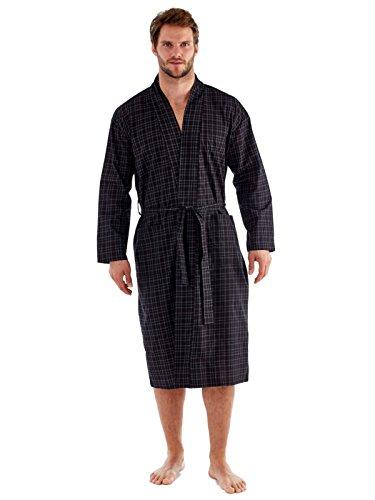 Herren Poly Baumwolle Pyjama, Nachthemd, Shorts Schlafanzug, Kleider, schwarz/rot Schwarz / Rot überprüfen Kleider