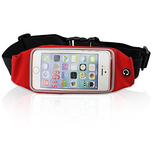 PsmGoods ® Runner Pack Ceinture de Course à Pied Taille Sac pour iPhone 5s, 6s, 6 6Plus Smartphone Porte-Monnaie pour Carte d'identité Rouge