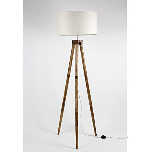 Textured Drum shape Off White Fabric Shade Wooden Tripod Floor Lamp Decorative Standing Light