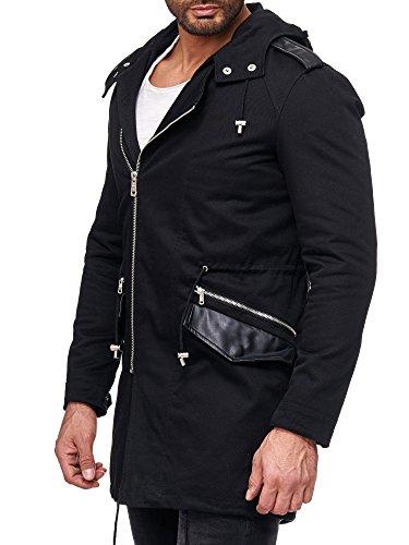 Redbridge Herren Jacke Frühling Übergangsjacke schwarz Kurz-Mantel Kapuze M6033 L