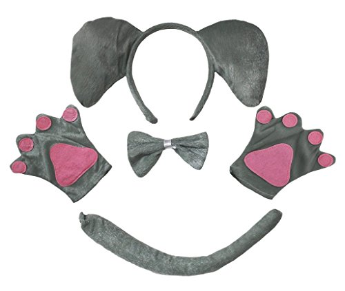 Petitebelle Elephant Headband Bowtie Tail Gloves Costume Party for Adult (One Size)