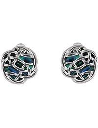 PYNK Jewellery Ohrstecker Abalone-Paua-Muschel grün Ohrringe Design keltischer Knoten