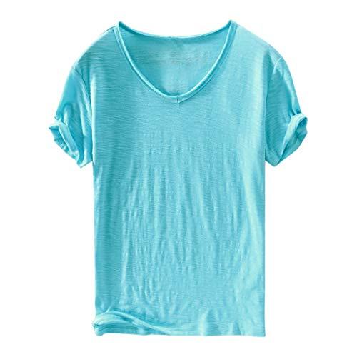 Herren Freizeitshirt, Dasongff V-Ausschnitt Kurzarm T-Shirt Basic Casual Tee Sommer Oberteile Tops Comfort Solide Unterhemd Modisch Tshirts in Versch Farben -