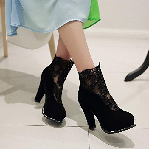 Mee Shoes Damen modern reizvoll Reißverschluss runder toe Nubukleder Lace Geschlossen Plateau Stiefel mit hohen Absätzen Schwarz