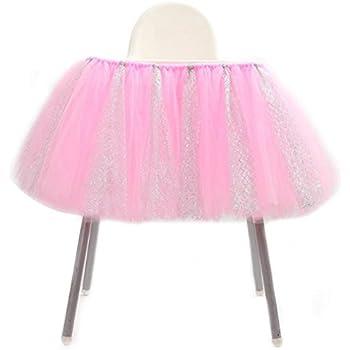 c710fc879297b LnLyin Bébé Tutu Jupe Chaise Haute Décorations À La Main Tulle Jupe De  Table Chaise De Paillettes 1er Anniversaire Fête Fournitures De Douche