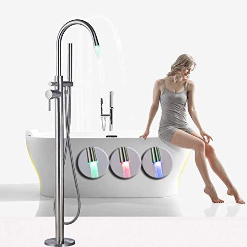 ACZZ Freistehende Badezimmer Badewanne Wasserhahn Led Licht Auslauf Nickel Gebürstet Bad Dusche Set Bodenmontage Badewanne Mischbatterie mit Handbrause