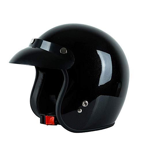 GuoYq Open-Faced Motorradhelm, Männer und Frauen Helm Elektroauto Helm Schutz, Harley Retro Küchenmesser Prince Helm Cruiser Vier Jahreszeiten Jet Helm