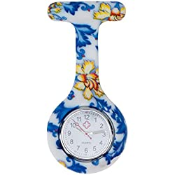 High Quality Brooch / Fob Watch, Infections Control, Silicone Hygienic Protection Cover / Holder With Blue And Orange Flowers Patterns / Designs By VAGA