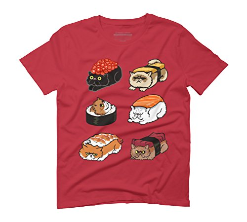 Sushi Persian Cat Men's Graphic T-Shirt - Design By Humans Red