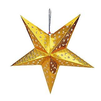 TONVER Decoración de Navidad, Colorido láser de Papel de Cinco Puntas, decoración de Pared de árbol, decoración para Navidad, Boda, Fiesta, 45 cm, Papel, Golden, 45 cm