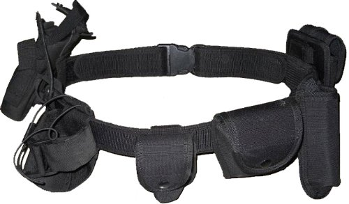 Kenley Tactical Military Safety Belt System - 7 Functional Bags - Black