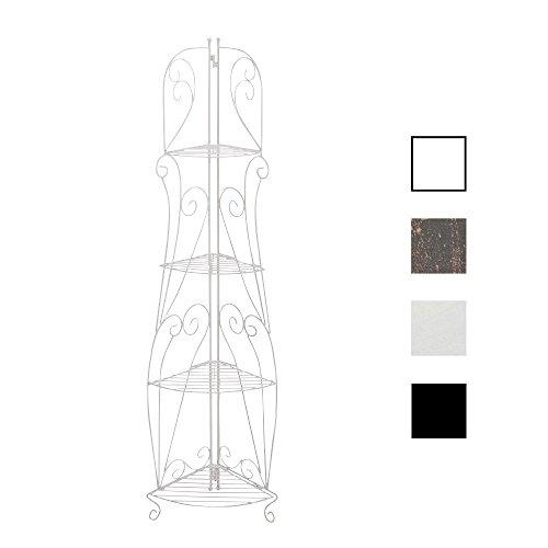 CLP Eisen-Eckregal IRMA I Stabiles Klappregal mit Vier Ablagen I Dekoregal im Landhausstil I erhältlich Weiß