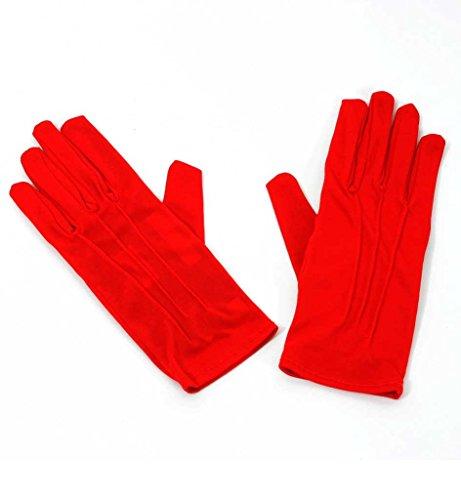 Handschuhe, für Erwachsene, in drei Farben erhältlich, schwarz, weiß oder rot, Winteraccessoire, Karneval. Fasching (Rot)