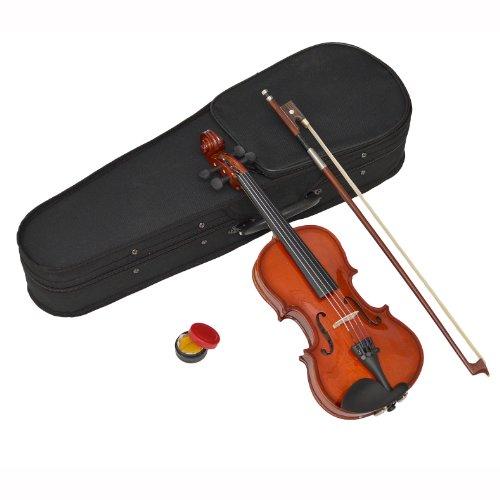 1/16 Kinder Violine Geige aus Ahorn für ca. 3 -4 Jahre im Set mit Formkoffer, Kolofonium und Rosshaar-Bogen