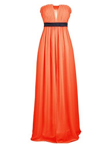 Dressystar Robe femme, Robe de soirée/ Cérémonie longue, sans manches, en Mousseline Orange