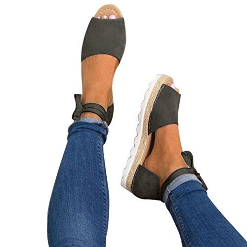 UOMOGO® Estive Donna Moda Sandali Comfort Toe Sandali Scarpe Camminare Piattaforma (Asia 40, Grigio - N2)