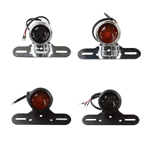 Motorrad Bremslichter Universal Retro Geändert 12 V Bremsrücklicht Für Chopper Bobber Benutzerdefinierte Cafe Racer Harley (Chrom rote Linse)