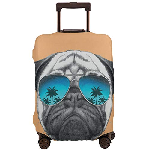 Travel Luggage Cover,Dog with Reflecting Aviators Palm Trees Tropical Environment Cool Pet Animal Suitcase Protector