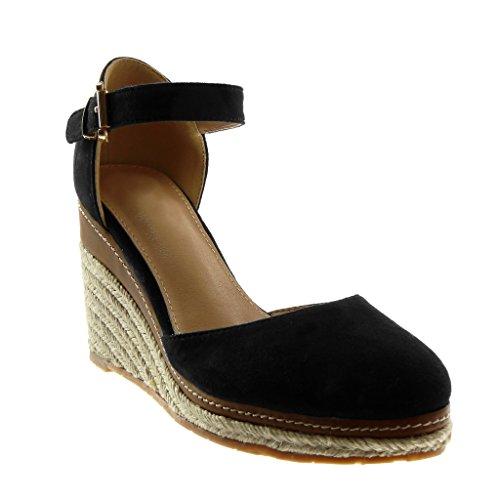 Angkorly scarpe moda sandali espadrillas con cinturino alla caviglia zeppe donna corda intrecciato tanga tacco zeppa piattaforma 9 cm - nero fl21 t 38