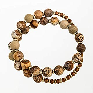 Abbott Collection Mala Bead Wrap Bracelet-Brn-14 L, Brown