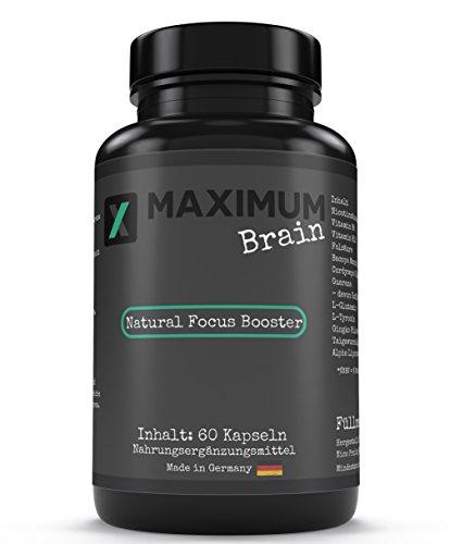 Maximum Brain   Made in Germany   KONZENTRATIONSBOOSTER   60 Kapseln   mit Vitamin B6/Vitamin B12   veganes Produkt