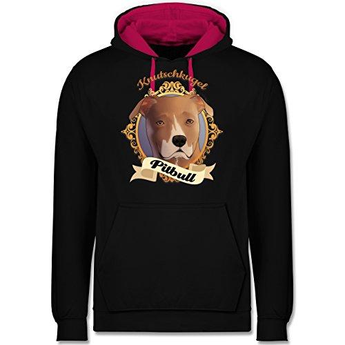 Hunde - Pitbull - Knutschkugel - Kontrast Hoodie Schwarz/Fuchsia