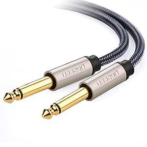 UGREEN Cavo Audio Jack Professionale, Cavo AUX 6,35mm Maschio a 6,35mm Maschio Cavo Jack Mono Cavo Stereo Aux in Nylon per Collegare I Dispositivi con Presa Audio da 6,35mm Come Altoparlante, Amplificatore, Mixer Audio, Chitarra, etc.(1M)