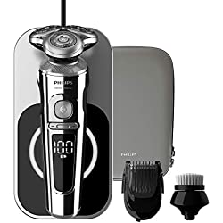Philips SP9863/14 Rasoir électrique Series 9000 Prestige avec plateau de charge Qi, Brosse nettoyante visage et Tondeuse Barbe clipsables SmartClick