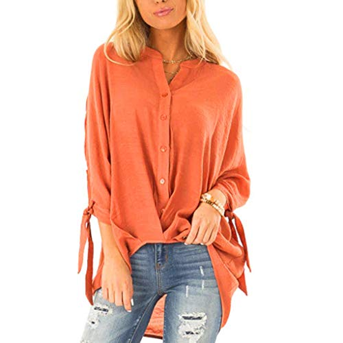 Hanomes Damen Einfarbig Top Damen Bogen Shirt Lange Ärmel Freizeit Tops Damen OberteileFrauen Casual Taschen Bluse (Filz-bogen-unterstützung)