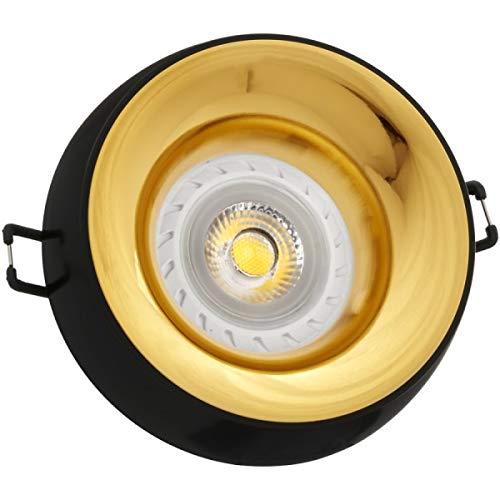 LED Einbaustrahler Set Schwarz mit LED GU10 Markenstrahler von LEDANDO - 7W - warmweiss - 30° Abstrahlwinkel - 50W Ersatz - A+ - LED Spot 7 Watt - Einbauleuchte LED rund