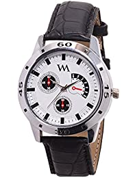 WM White Dial Black Leather Strap Watch For Men And Boys AWC-013 AWC-013omtbg