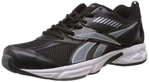 Reebok Men's Active Sports Black, Grey and Silver Mesh Running Shoes -  9 UK