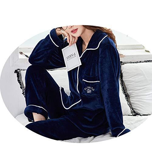 JZX Women's Flannel Plus Velvet Warm Suit Pajamas,Bleu foncé,M