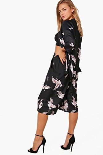 Femmes Noir Olivia Pantalon Jupe-culotte Imprimé Oiseaux Noir